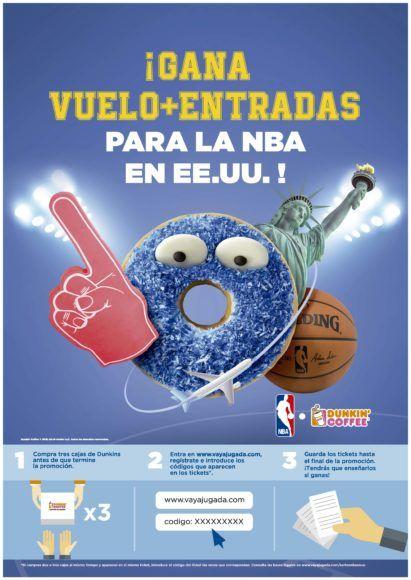 Dunkin' Coffee Sortea un viaje y entradas para la NBA en EEUU